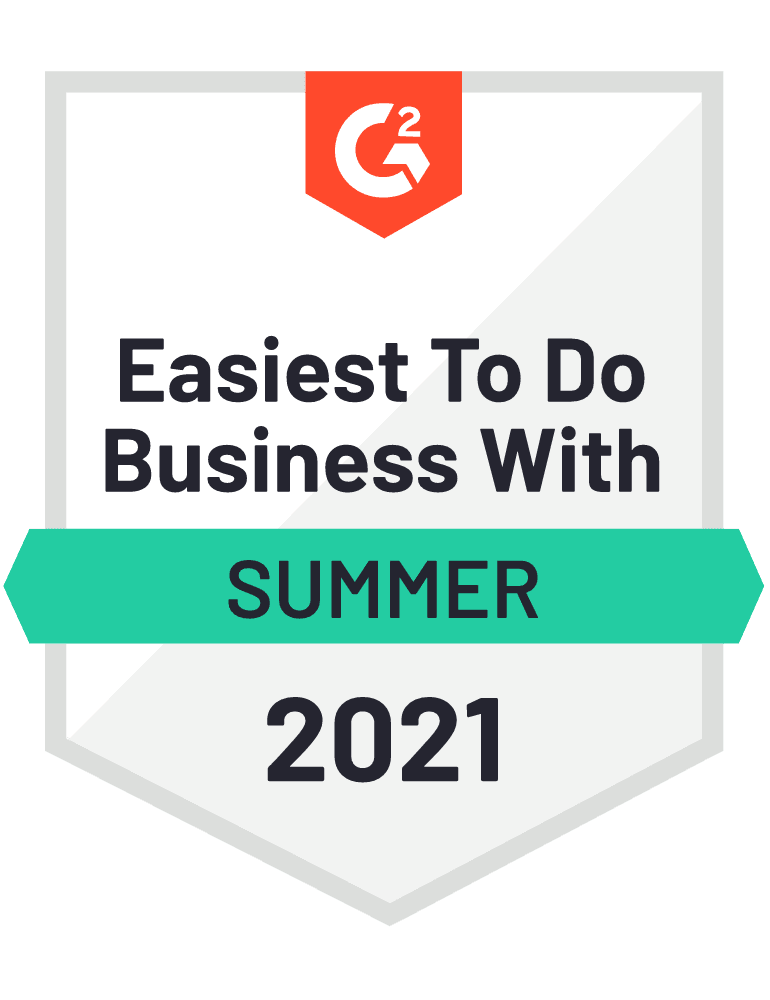 G2 2021 Summer Easiest To Do Business With